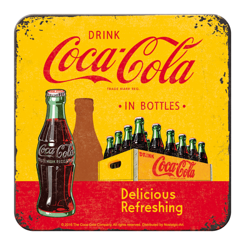 Coca-Cola In Bottles Yellow Coaster