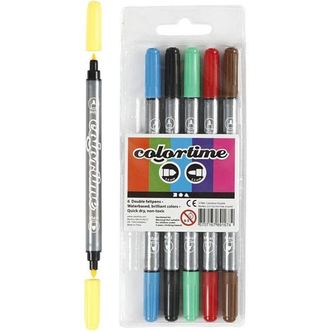 Colortime Dobbeltusj, standardfarger, 6 stk.