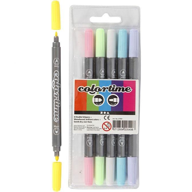 Colortime Dobbeltusj, pastellfarger, 6 stk.