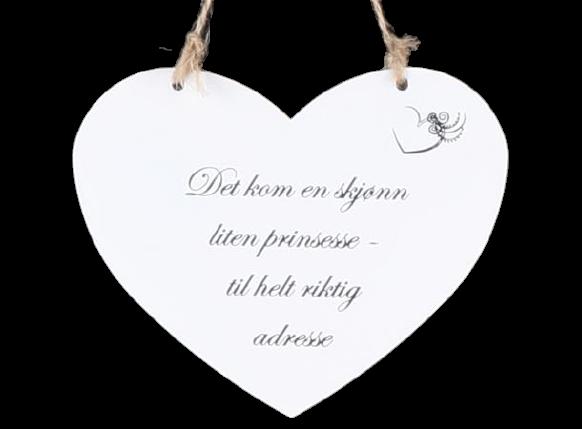 Metallskilt hjerte - Det kom en skjønn liten prins