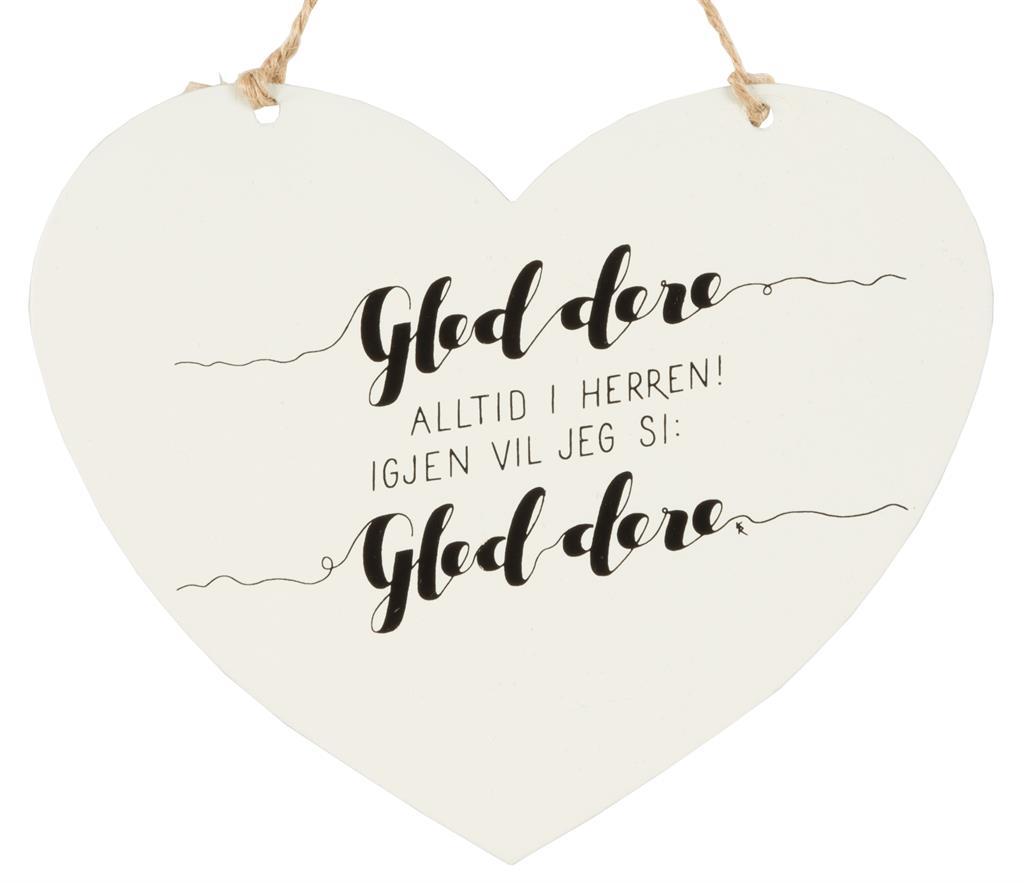 Metallskilt hjerte - Gled dere alltid i Herren