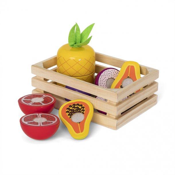 Trekurv med eksotisk frukt i tre
