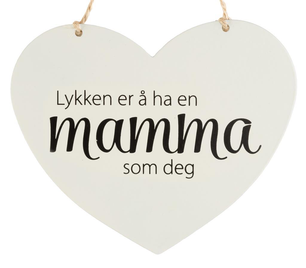 Metallskilt hjerte - Lykken er å ha en mamma som d