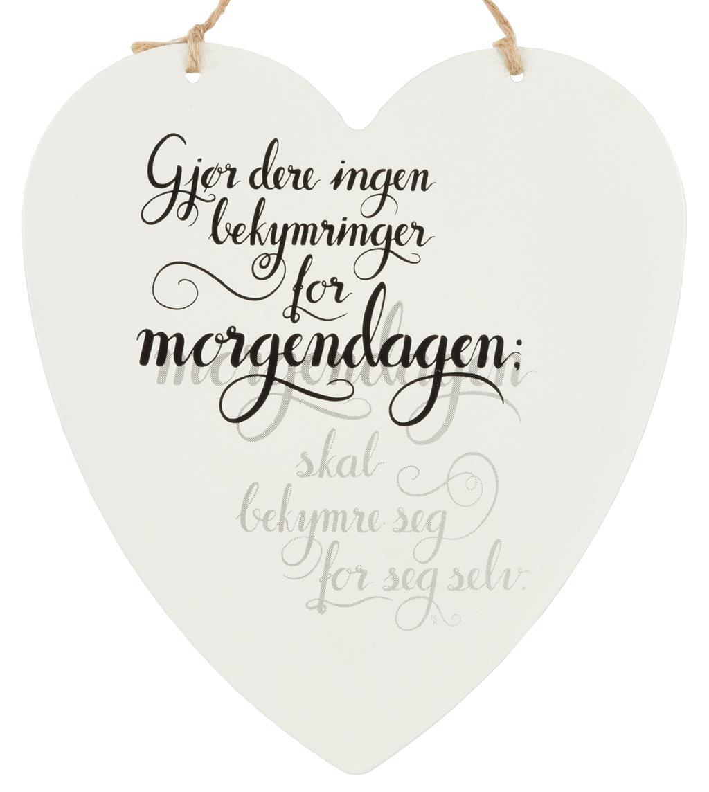 Metallskilt hjerte - Gjør dere ingen bekymringer..