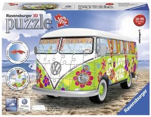 Puslespill 3D Volkswagen Folkevognbuss Hippi 162p