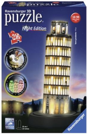 Puslespill 3D Skjeve tårn i Pisa Night Edition 216