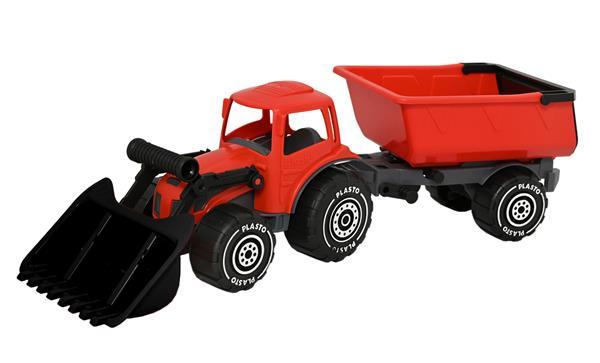 Plasto traktor m/frontlaster og tilhenger rød