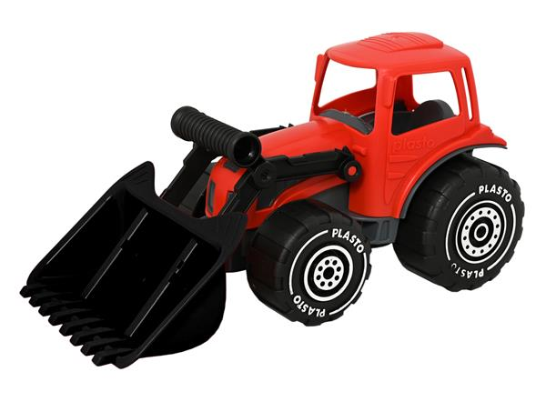 Plasto traktor m/frontlaster rød