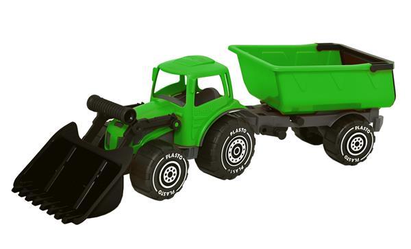Plasto traktor m/frontlaster grønn