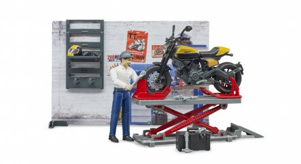 Bruder Verksted m/figur og motorsykkel