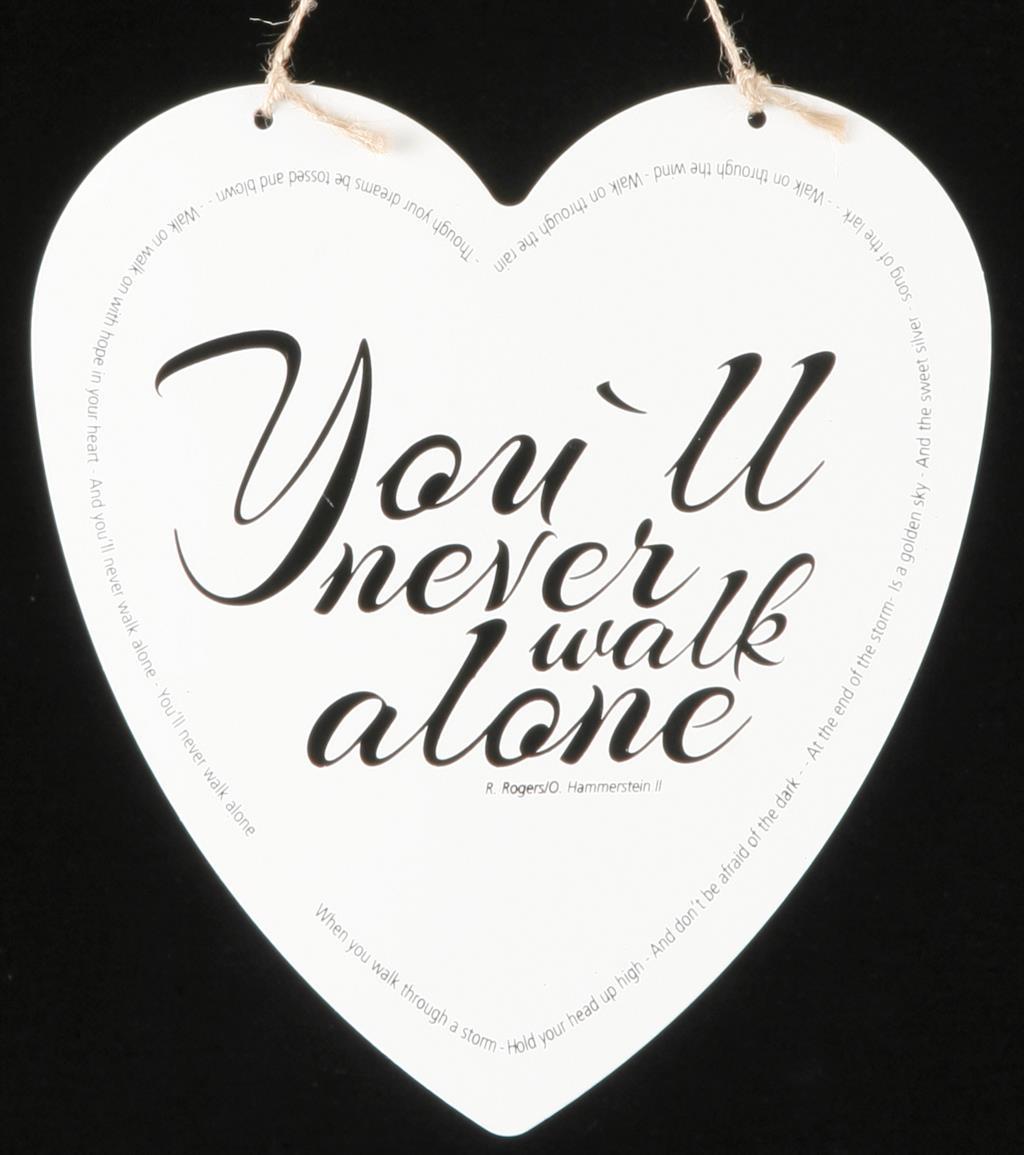 Metallskilt hjerte - You´ll never walk alone