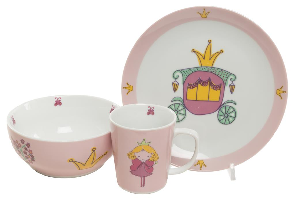Barneservise prinsesse rosa 3-deler
