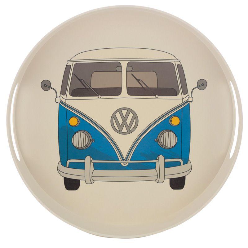 Volkswagen VW T1 Camper Bus Blue Round Tray