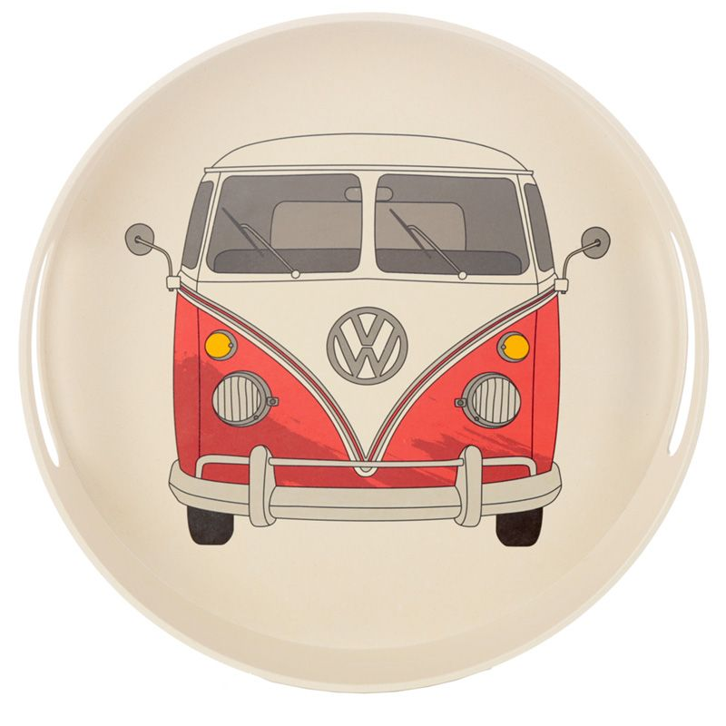 Volkswagen VW T1 Camper Bus Red Round Tray