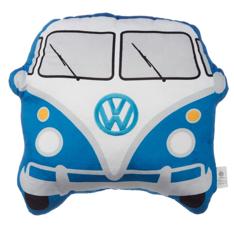 Volkswagen VW T1 Camper Bus Shaped Blue Cushion