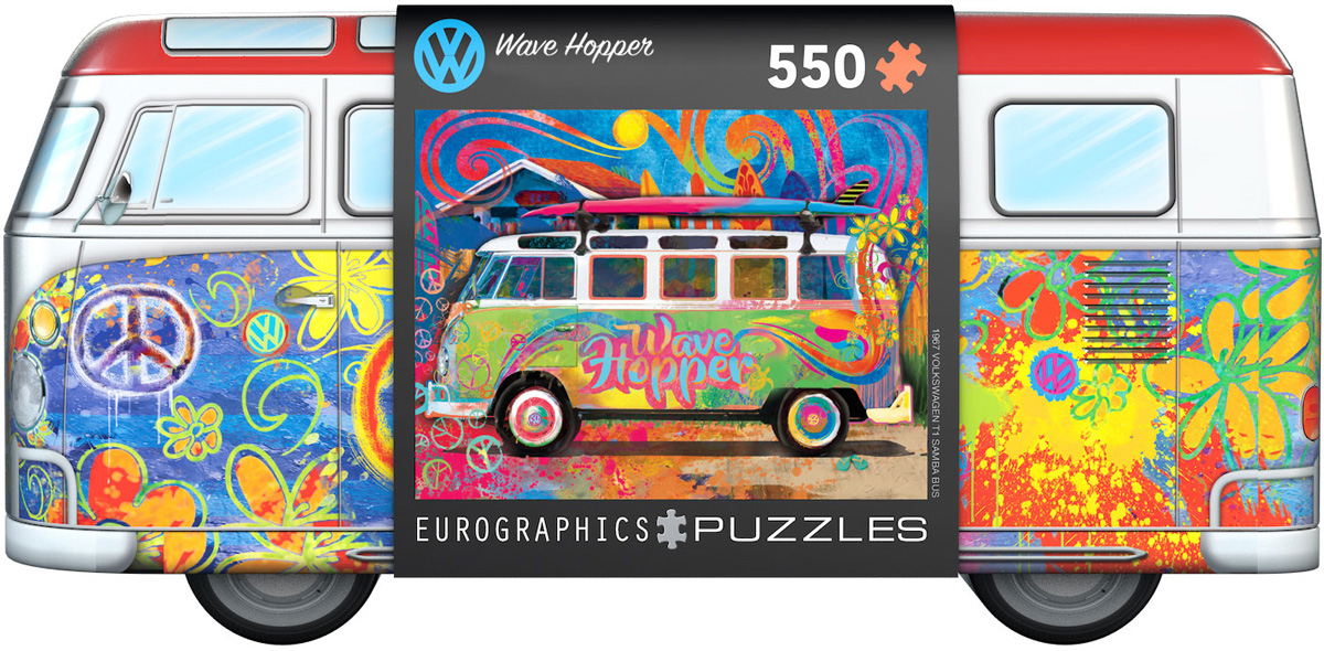 Volkswagen Bus Wave Hopper Puzzle Tin 550 biter