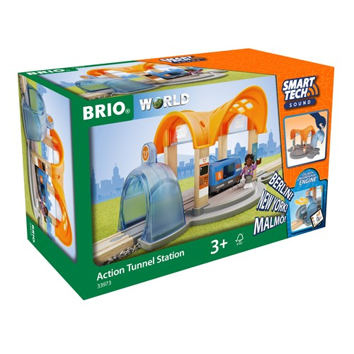 BRIO®World Smart Tech Sound togstasjon med magiske