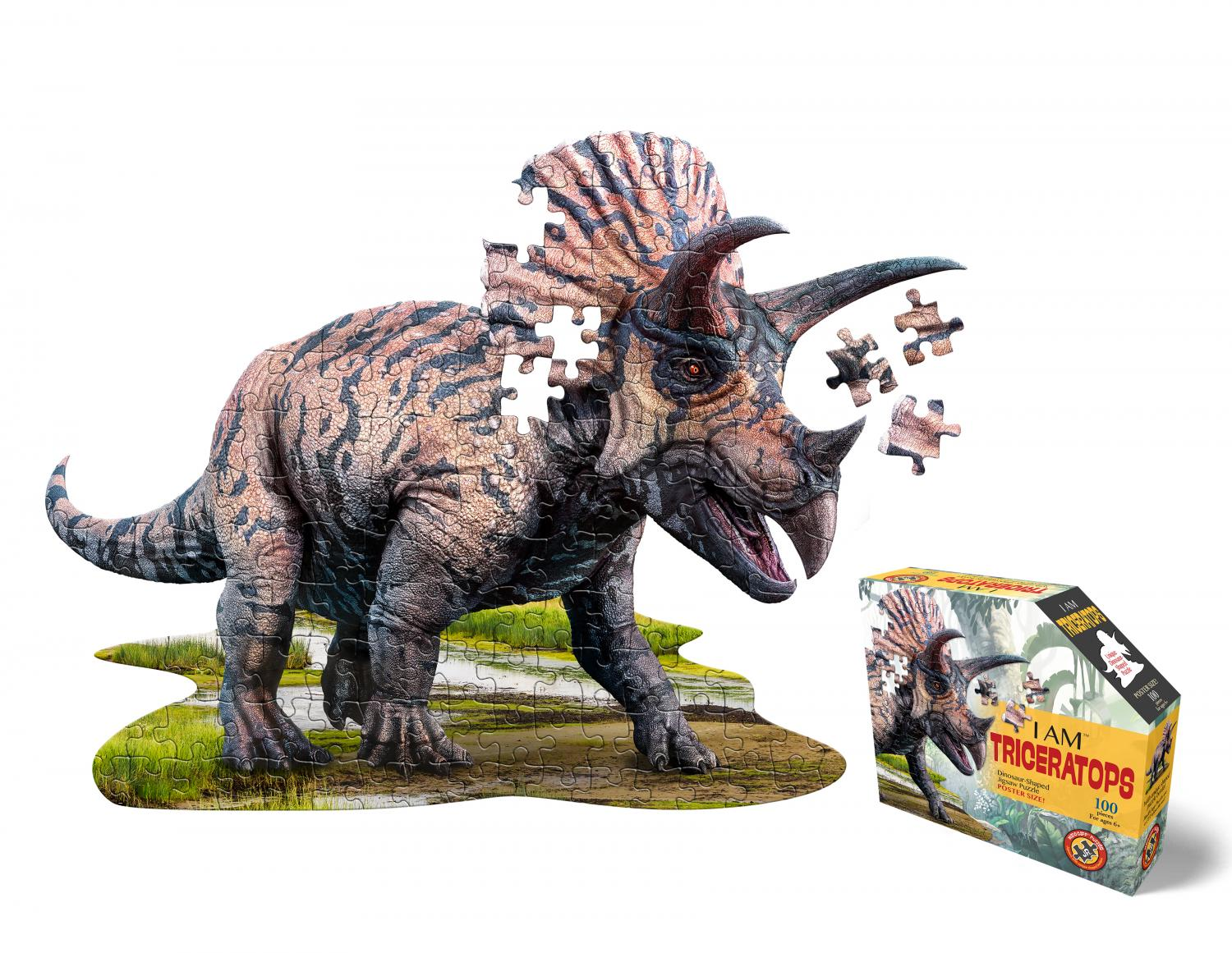 I am Triceratops Head Shape Puzzles 100 biter