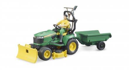 Bruder Bworld John Deere gresstraktor med tilhenge
