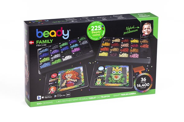 Beady Family 14400 perler, 8 plater, 1 skrape
