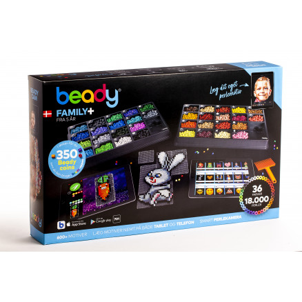 Beady Family+ 18000 perler, 12 plater, 1 skrape