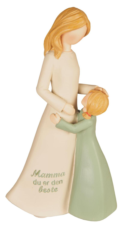 Figur mor/barn beige/grønn Mamma du er den beste