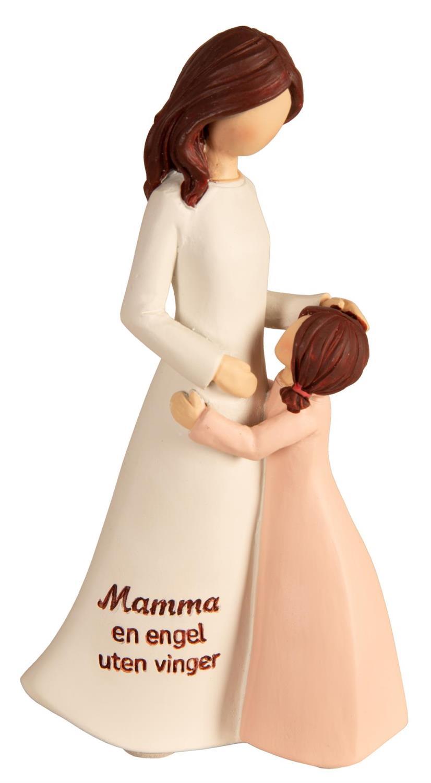 Figur mor/barn hvit/rosa Mamma en engel uten vinge