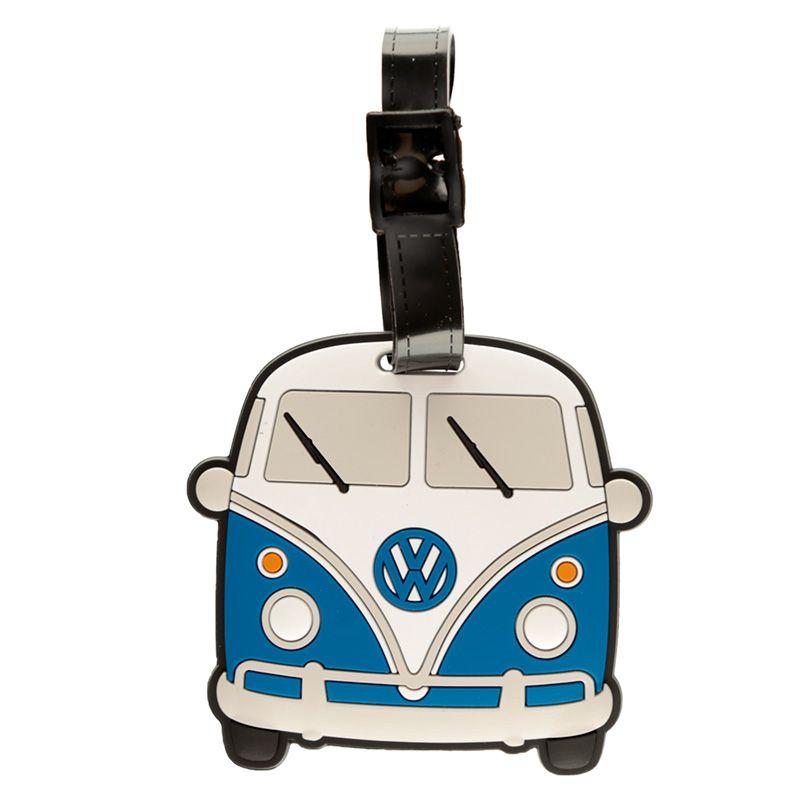 Volkswagen VW T1 Camper Bus Blå PVC Bagagelapp